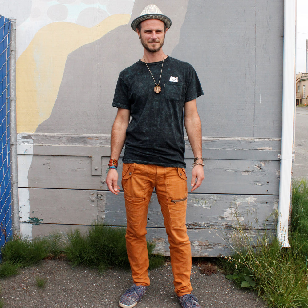 men's orange denim pants