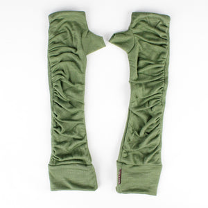 Load image into Gallery viewer, Long wrist warmers khaki color