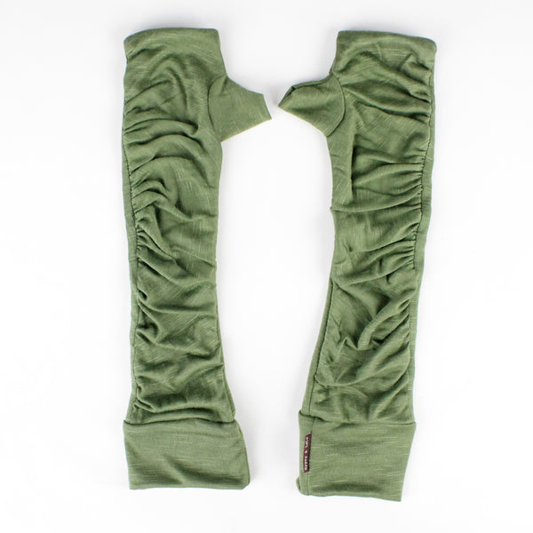 Long wrist warmers khaki color
