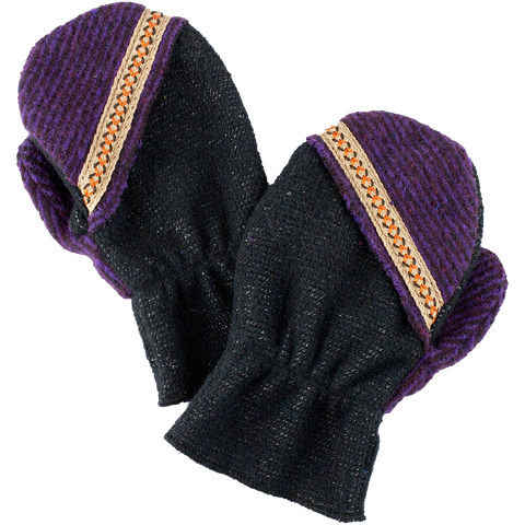 Kid's mitten Dark/Purple with orange details