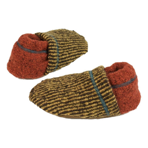 yellow and black stripe soft baby booties with rust colored heal and contrasting stitching.