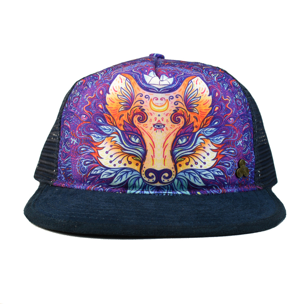 fox trucker hat, mesh and snapback, sustainably made, environmental fabrics, recycled polyester, organic, screen printed, gypsy and lolo, g and L designs, g&l designs
