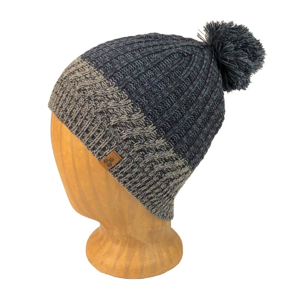 unisex navy and grey beanie with ribbed knitting and pom-pom