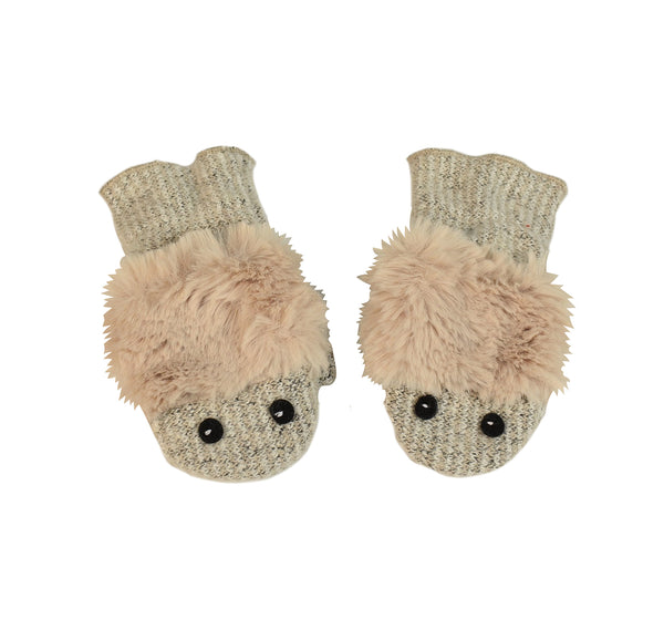 kids soft white mittens with pink fur