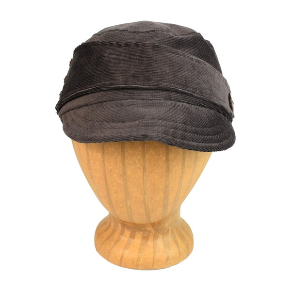 women's brown twill hat with soft brim and button detailing