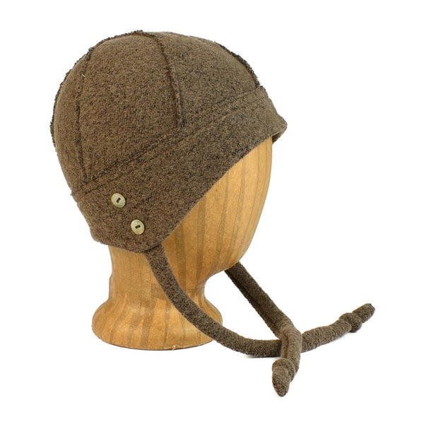 unisex brown knit hat with ties and shell buttons