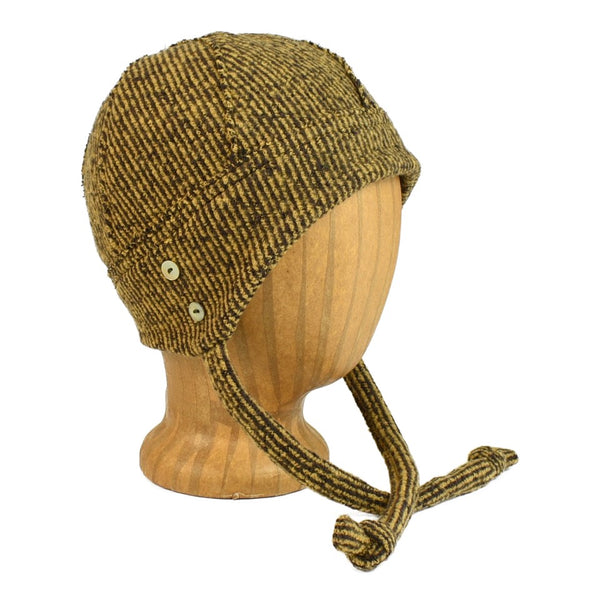 unisex golden stripe knit hat with ties and shell buttons