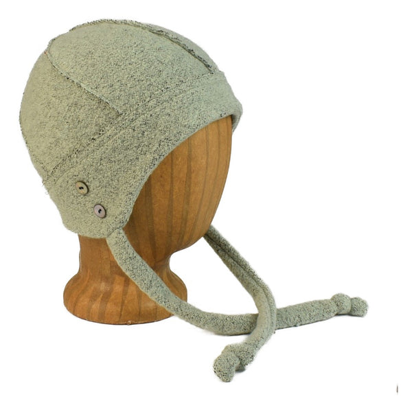 unisex mint knit hat with ties and shell buttons