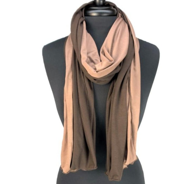brown and tan women jersey scarf