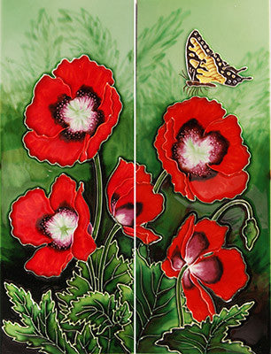 "Hand Painted Ceramic Tiles ""Butterfly Landing"""