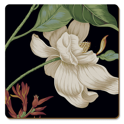 "Hardboard Coasters Colonial Williamsburg  ""Garden Images"" in Black"