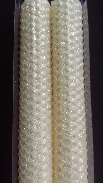 "Candles 10"" Tapers ""Ivory"" Classic Glitter by Oak Forest Designs"