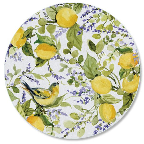 "Round Glass Counter Saver 16″ – ""Watercolor Lemons"""