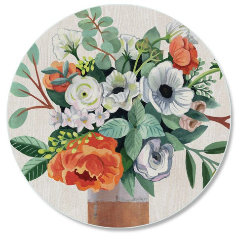 "Round tempered glass Counter Saver 16″- ""Fresh Poppies"""