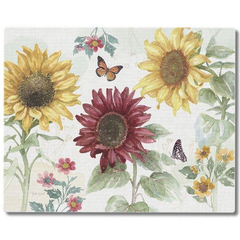"Large Tempered Glass Counter Saver 15""x 12""- ""Sunflower Splendor"""
