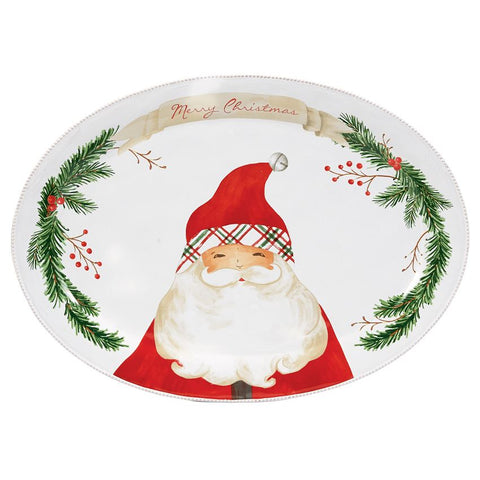 Santa Claus Tartan Platter by Mud Pie