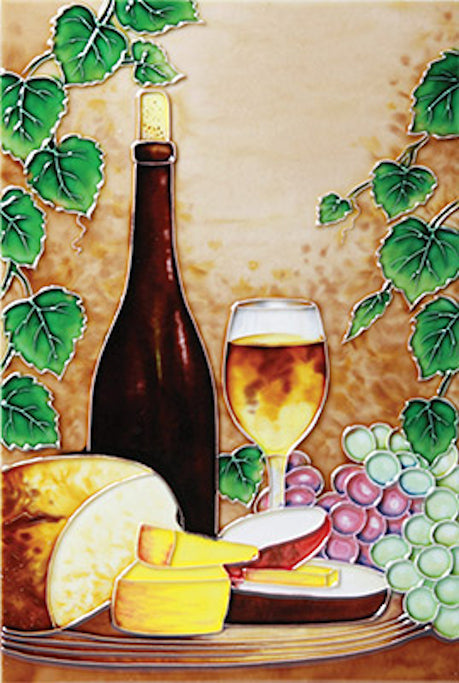 "Hand Painted Ceramic Tile  ""Wine and Cheese"""
