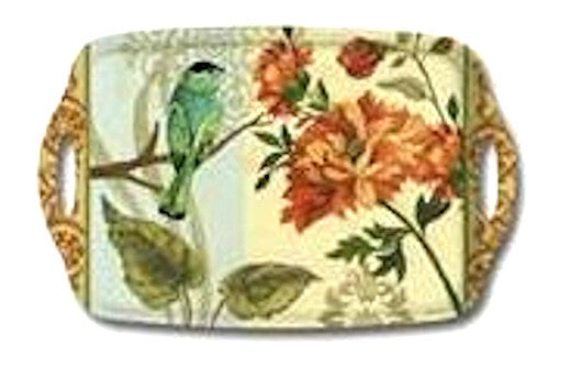 "Tray with Handles""Bird Study"" Melamine by Jason Designs"