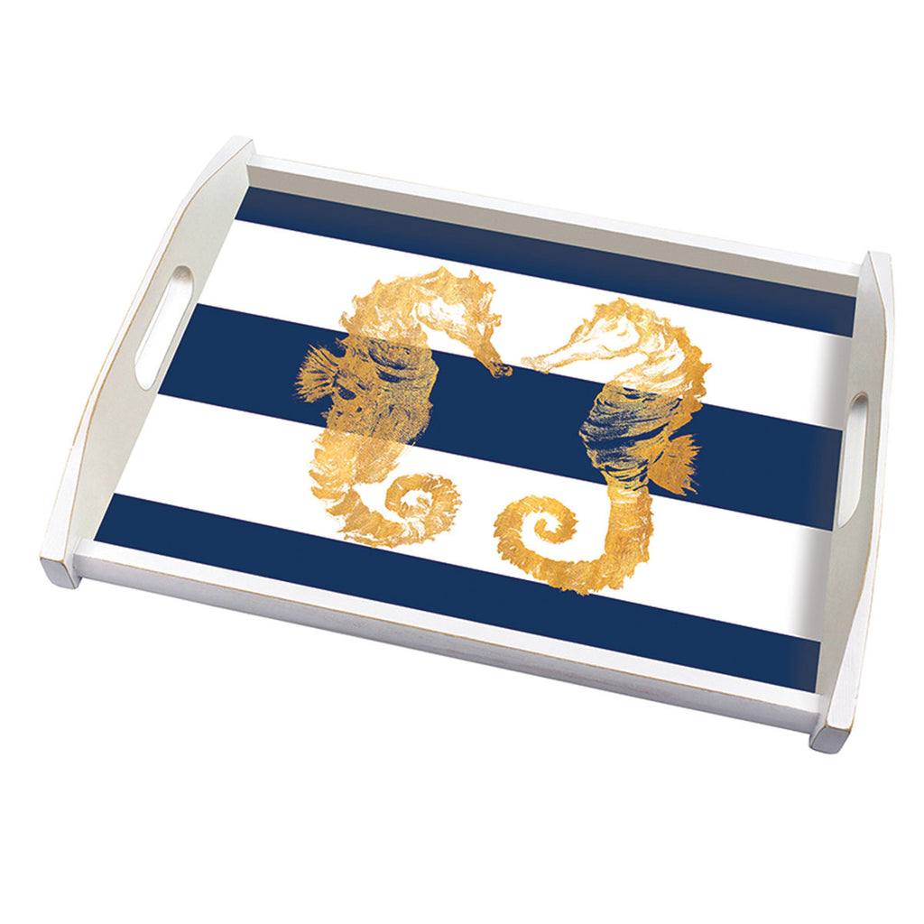 "Wooden Tray ""Nautical Seahorses"""