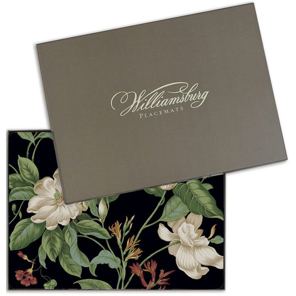 "Place Mats Colonial Williamsburg ""Garden Images"" in Black. Hardboard."