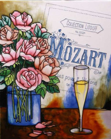 "Hand Painted Ceramic Tile ""Mozart Symphony"""