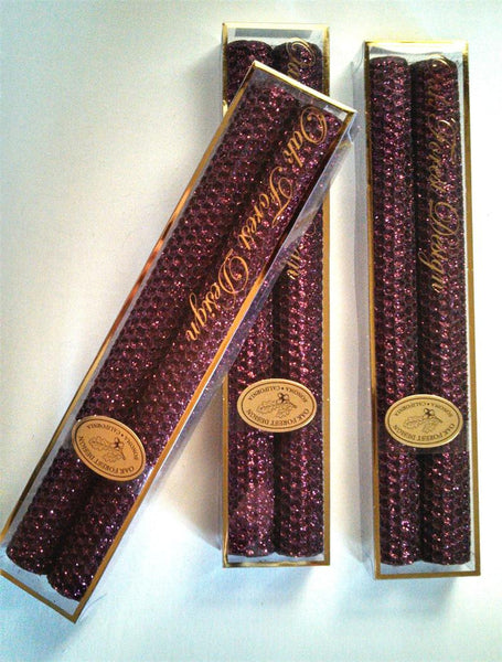 "Candles 10"" Tapers ""Burgundy Metallic"" by Oak Forest Design"