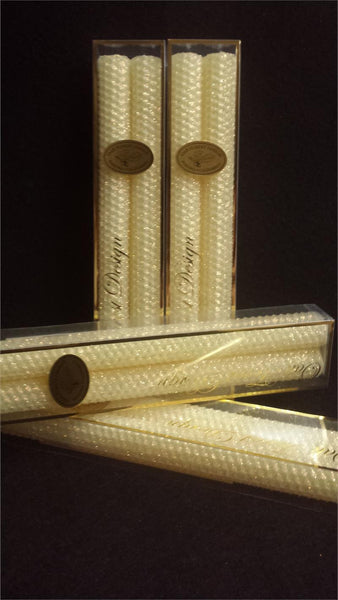 "Candles 10"" Classic Glitter Tapers ""Butter"" by Oak Forest Design"