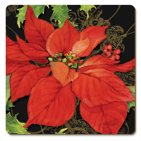"Coasters ""Poinsettias on Black"" Cork Back"