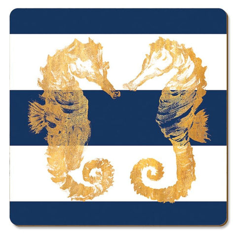 "Coasters Cork-back ""Nautical Seahorses"""