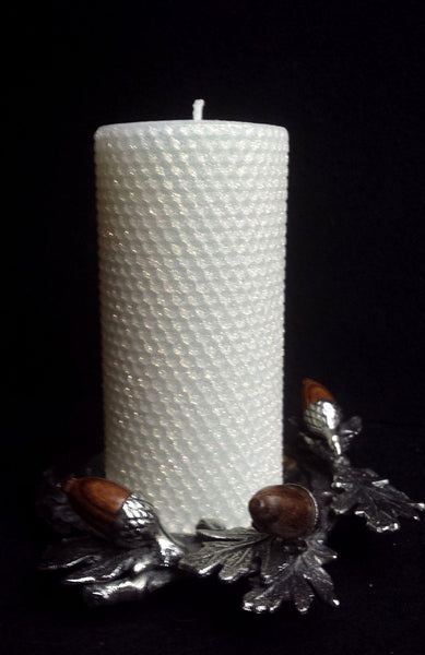 "Candles Oak Forest Pillar 3"" x 6"" Classic Glitter Ivory"