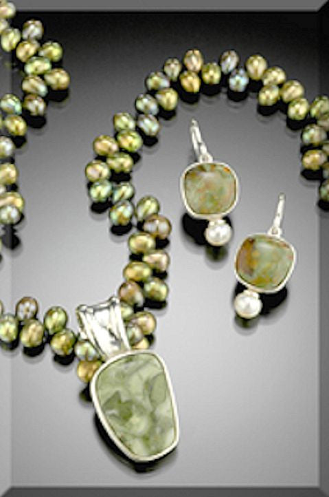 "Necklace of ""Rhyolite"" Stone, Sterling Silver and Olive Pearls"