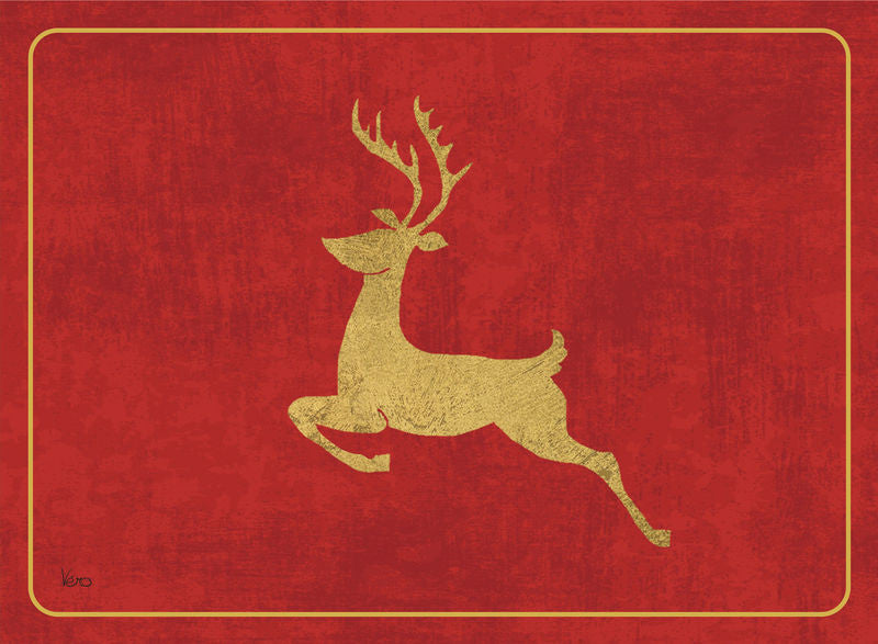 "Place Mats ""Reindeer"" on Red by Cala Home"
