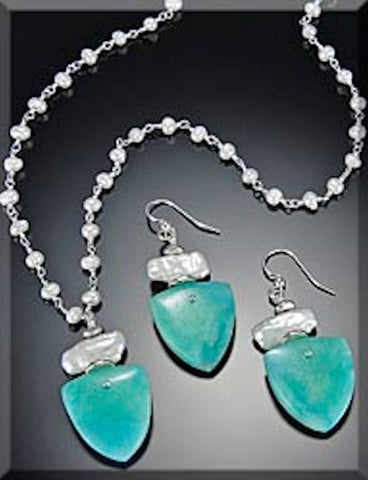 "Necklace ""Amazonite Trillion"" Semi-Precious Stone"