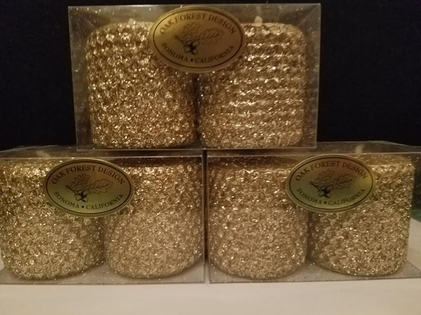2x2 Metallic Glitter Votive Candle Pair Oak Forest Design