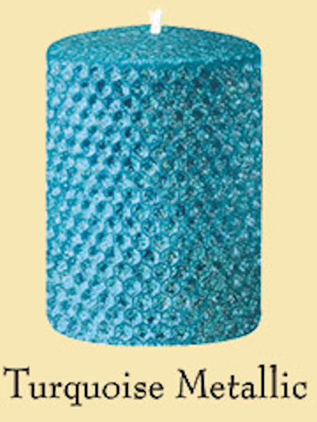 "Candles 3""x 6"" Pillar""Turquoise Metallic"" by Oak Forest Design"