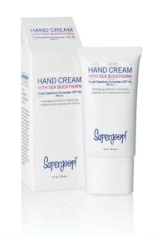 Use a daily moisturizer with at least SPF 30, such as Supergoop! Hand Cream with SPF 40