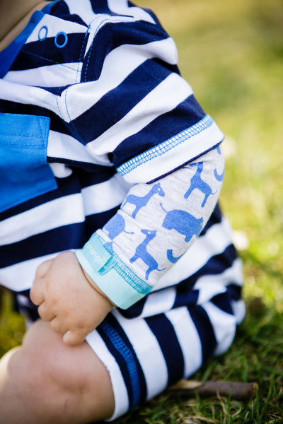 Baby Sun Sleeves - Zoo Time Blue
