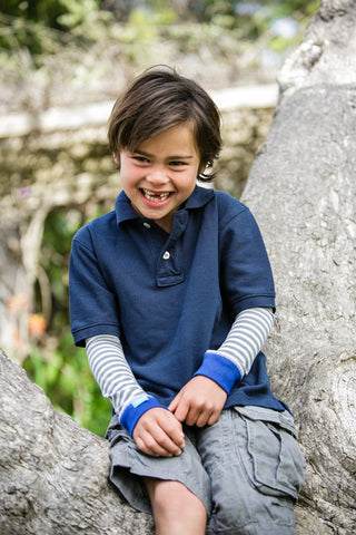 Boys Sun Sleeves - Summer Stripes Blue