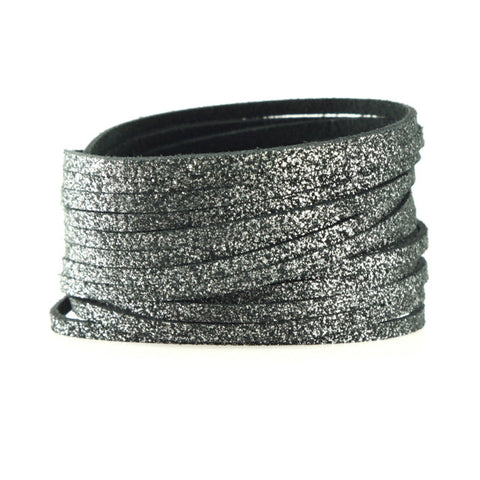 Sliced Leather Double Wrap Bracelet
