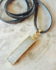 Druzy Necklace in Gold with Gunmetal Leather Cord