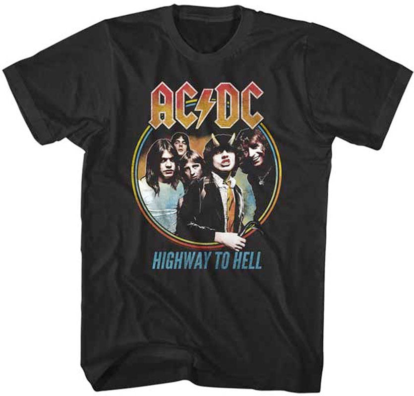 AC/DC Highway To Hell Tricolour-Black Lightweight t-shirt