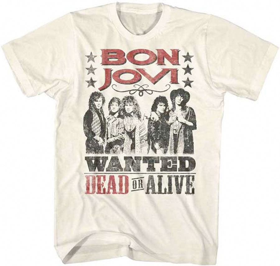 Bon Jovi-Wanted Dead Or Alive-Natural t-shirt