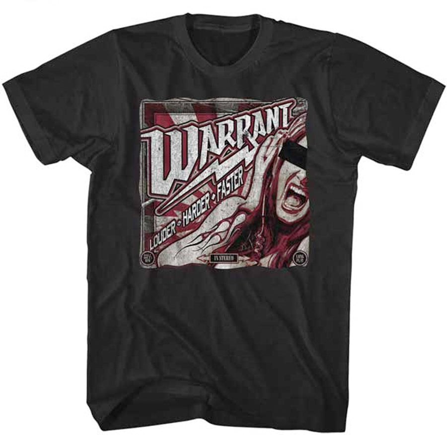 Warrant-Louder Harder Faster-Black t-shirt