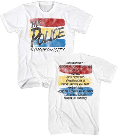 The Police-Synchronicity-with Song title back print-White t-shirt