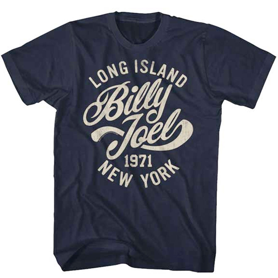 Billy Joel - Long Island 1971 -Navy Blue t-shirt