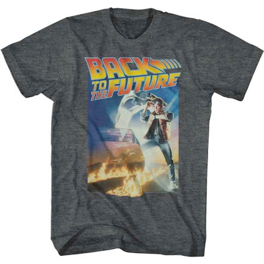 Back  To The Future - Poster With Logo -  Black Heather  t-shirt