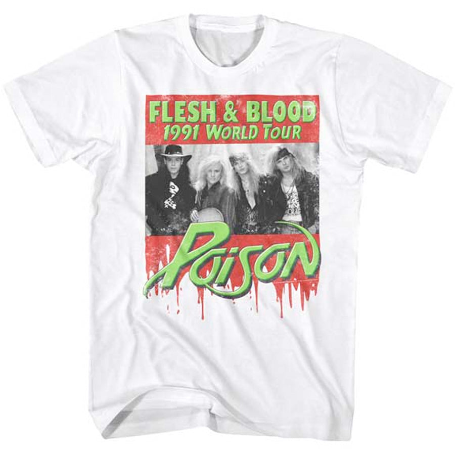 Poison - Flesh & Blood 91 World Tour - White t-shirt