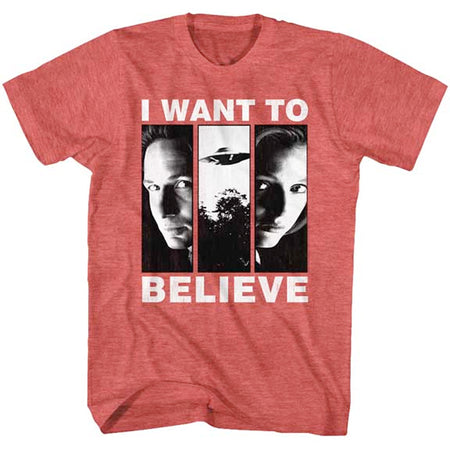 The X-Files - I Want To Believe - Red Heather t-shirt