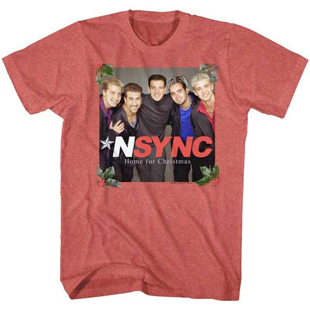 NSYNC - Home For Christmas - Red Heather t-shirt