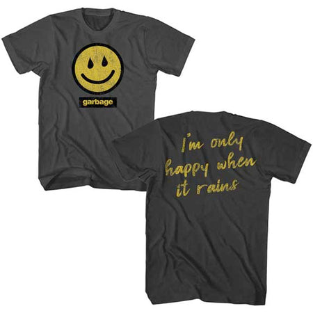 Garbage - Rain Smiley - Smoke t-shirt